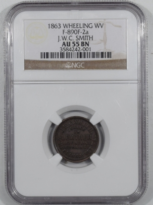 Other Numismatics 1863 F-890F-2A WHEELING WV STORE CARD J.W.C. SMITH DEALER IN LEATHER NGC AU55 BN
