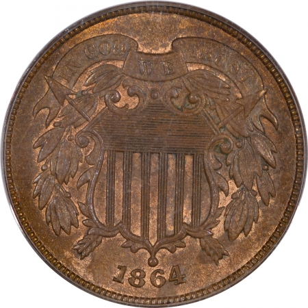 Two Cent Pieces 1864 TWO CENT PIECE – PCGS MS-64 RB, OLD GREEN HOLDER, FRESH!
