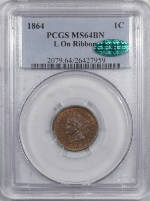CAC Approved Coins 1864-L INDIAN CENT PCGS – L ON RIBBON, MS-64 BN, CAC, PQ & LOOKS GEM