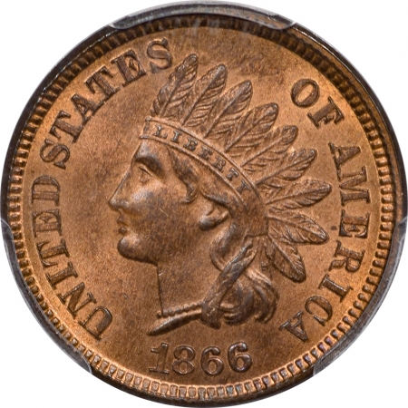 New Certified Coins 1866 INDIAN CENT – PCGS MS-65 RB EAGLE EYE, PREMIUM QUALITY!