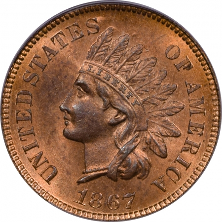 New Certified Coins 1867 INDIAN CENT – PCGS MS-65 RB EAGLE EYE, FLASHY GEM!