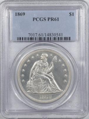 Liberty Seated Dollars 1869 PROOF SEATED LIBERTY DOLLAR – PCGS PR-61 BLACK & WHITE!