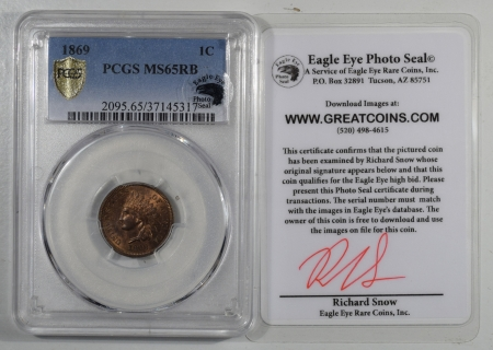 Indian 1869 INDIAN CENT – EAGLE EYE – PCGS MS-65 RB