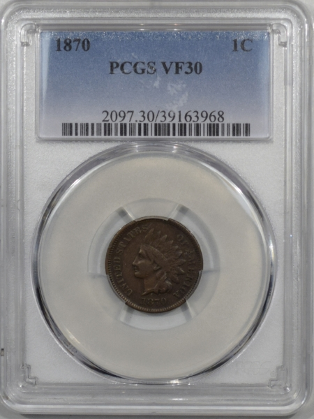 Indian 1870 INDIAN CENT PCGS VF-30