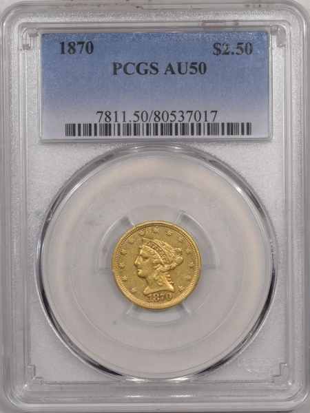 US Gold 1870 $2.50 LIBERTY HEAD GOLD – PCGS AU-50, TOUGH DATE!