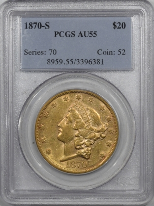 New Certified Coins 1870-S $20 LIBERTY HEAD GOLD – PCGS AU-55, TOUGH DATE!