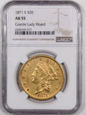 $20 1871-S $20 LIBERTY HEAD DOUBLE EAGLE GOLD – NGC AU-55, TOUGH TYPE 2 DATE