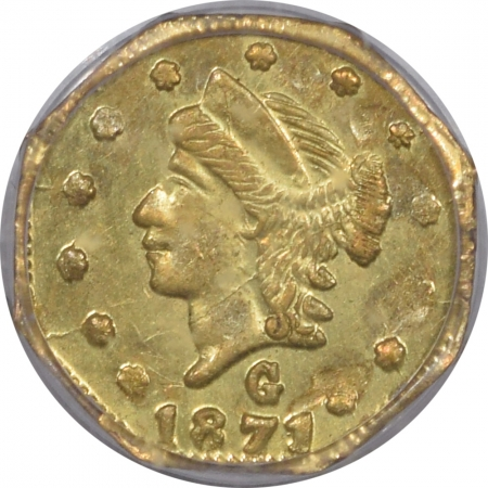 New Certified Coins 1871 25C FRACTIONAL GOLD – BG-765 – PCGS MS-63