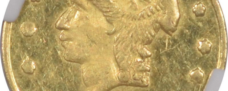 Territorial/California Fractional Gold 1853 50c FRACTIONAL GOLD BG-302 PEACOCK PCGS MS-64 RARE & POPULAR TYPE!