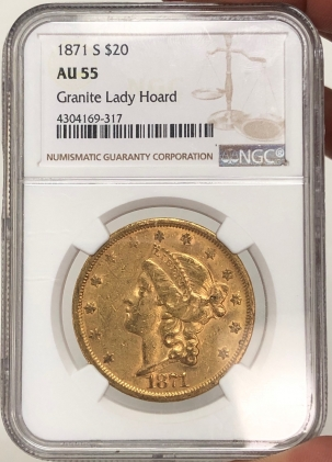 New Certified Coins 1871-S $20 LIBERTY HEAD GOLD – NGC AU-55