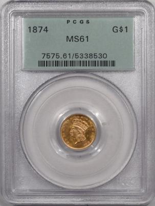 $1 1874 $1 DOLLAR GOLD – PCGS MS-61 LOOKS MS-63! PREMIUM QUALITY! OGH!
