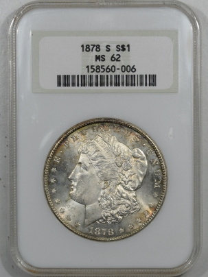 New Certified Coins 1878-S MORGAN DOLLAR NGC MS-62, FATTIE HOLDER, PQ++