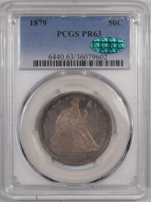 CAC Approved Coins 1879 SEATED LIBERTY HALF DOLLAR – PCGS PR-63, ORIGINAL TONING AND CHOICE! CAC!