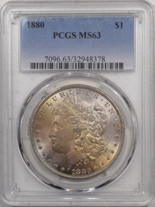 New Certified Coins 1880 MORGAN DOLLAR PCGS MS-63, PRETTY!