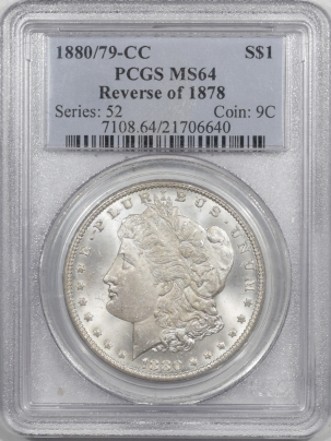 Morgan Dollars 1880/79-CC MORGAN DOLLAR, REV OF 1878 – PCGS MS-64, BLAST WHITE!