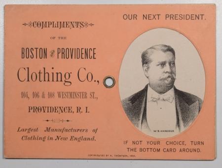Political 1880 GARFIELD-HANCOCK 3 1/2 X 4 3/4″ MECHANICAL ADV CARD W/ PICS OF BOTH – EXC!