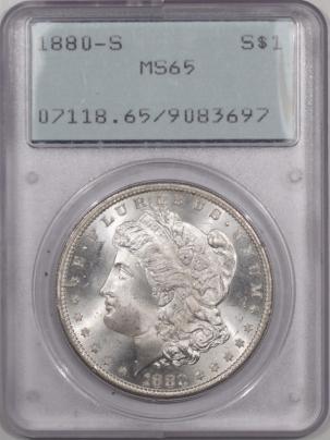 Morgan Dollars 1880-S MORGAN DOLLAR – PCGS MS-65 RATTLER, PREMIUM QUALITY!