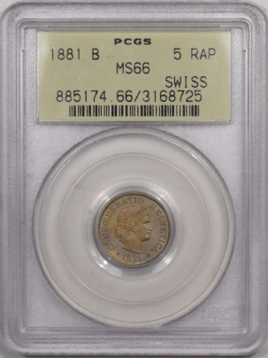 1881 B SWITZERLAND 5 RAPPEN – PCGS MS-66, SUPERB & REALLY PRETTY!