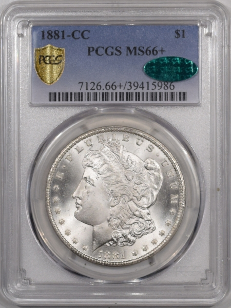 CAC Approved Coins 1881-CC MORGAN DOLLAR PCGS MS-66+ CAC APPROVED, BLAST WHITE AND PREMIUM QUALITY!