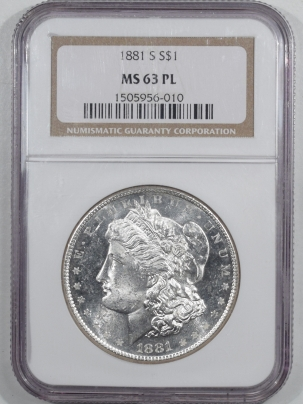 Dollars 1881-S MORGAN DOLLAR NGC MS-63 PL, BLAST WHITE PROOFLIKE, LOOKS DEEP!
