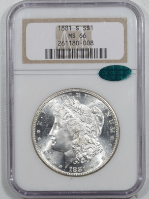 CAC Approved Coins 1881-S MORGAN DOLLAR – NGC MS-66 BLAST WHITE, PQ & CAC APPROVED!