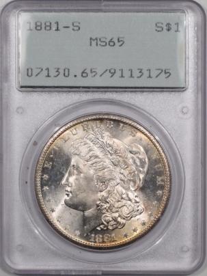 Morgan Dollars 1881-S MORGAN DOLLAR – PCGS MS-65 RATTLER, PREMIUM QUALITY!