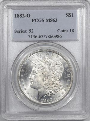 Morgan Dollars 1882-O MORGAN DOLLAR – PCGS MS-63, WHITE!
