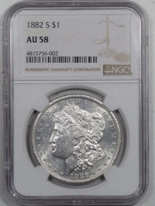 New Certified Coins 1882-S MORGAN DOLLAR – NGC AU-58 FLASHY!