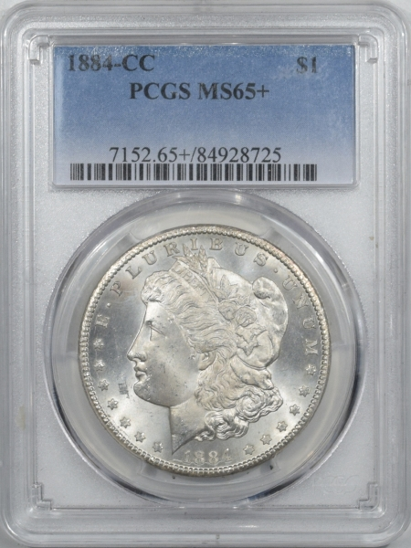 New Certified Coins 1884-CC MORGAN DOLLAR – PCGS MS-65+ GEM!