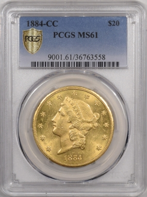 New Certified Coins 1884-CC $20 LIBERTY HEAD GOLD – PCGS MS-61, FLASHY!