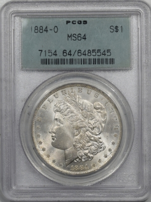 New Certified Coins 1884-O MORGAN DOLLAR – PCGS MS-64, OLD GREEN HOLDER, PREMIUM QUALITY!