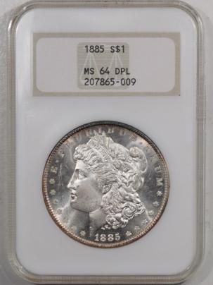 Morgan Dollars 1885 MORGAN DOLLAR – NGC MS-64 DPL, FATTIE HOLDER PREMIUM QUALITY, LOOKS GEM!