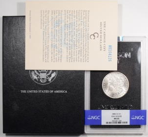 Morgan Dollars 1885-CC MORGAN DOLLAR GSA WITH BOX AND CARD – NGC MS-65