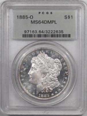 Morgan Dollars 1885-O MORGAN DOLLAR – PCGS MS-64 DMPL, OLD GREEN HOLDER, PREMIUM QUALITY!