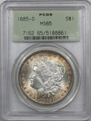 Morgan Dollars 1885-O MORGAN DOLLAR – PCGS MS-65 OGH, PREMIUM QUALITY!