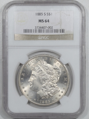 New Certified Coins 1885-S MORGAN DOLLAR – NGC MS-64 WHITE, CLEAN CHEEK!