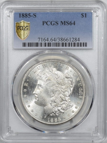 New Certified Coins 1885-S MORGAN DOLLAR – PCGS MS-64, BLAST WHITE
