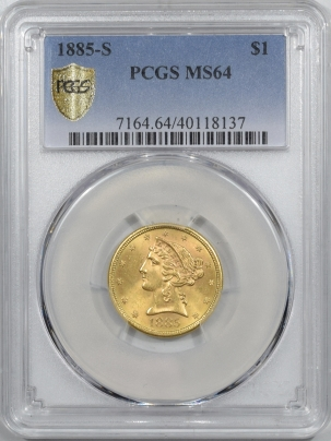 $5 1885-S $5 LIBERTY HEAD GOLD – PCGS MS-64 (PCGS HOLDER ERROR LABELS IT DOLLAR)