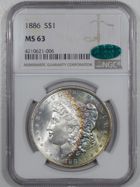 CAC Approved Coins 1886 MORGAN DOLLAR – NGC MS-63 RAINBOW! CAC APPROVED!