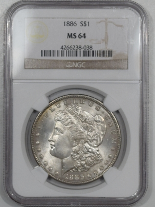 New Certified Coins 1886 MORGAN DOLLAR – NGC MS-64 PRETTY!