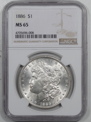New Certified Coins 1886 MORGAN DOLLAR – NGC MS-65 BLAST WHITE!