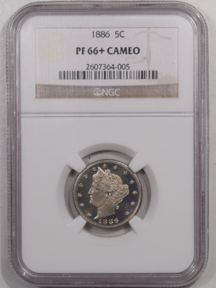 New Certified Coins 1886 PROOF LIBERTY NICKEL – NGC PR-66+ CAMEO, PRISTINE & VIRTUALLY SUPERB!