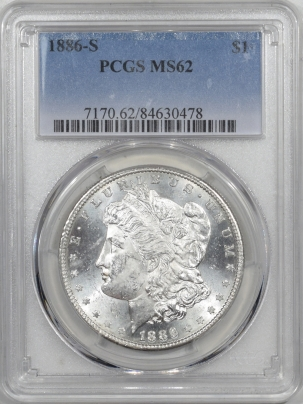 Morgan Dollars 1886-S MORGAN DOLLAR – PCGS MS-62 BLAST WHITE!