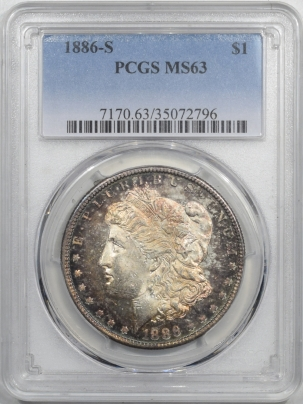 New Certified Coins 1886-S MORGAN DOLLAR PCGS MS-63, FLASHY WITH VIBRANT TONING, VERY PRETTY!
