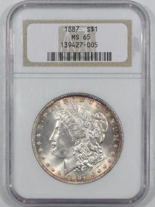 New Certified Coins 1887 MORGAN DOLLAR NGC MS-65, FLASHY NICE GEM