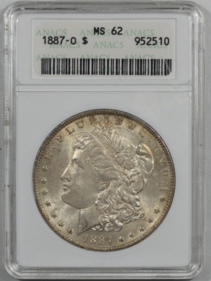 New Certified Coins 1887-O MORGAN DOLLAR – ANACS MS-62