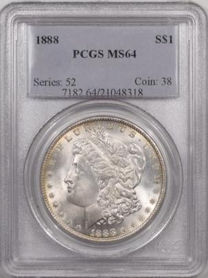 Morgan Dollars 1888 MORGAN DOLLAR – PCGS MS-64, SUPER PREMIUM QUALITY!