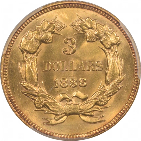 New Certified Coins 1888 $3 GOLD PRINCESS, PCGS MS-63, FLASHY ORIGINAL LUSTER, FRESH, LOW MINTAGE