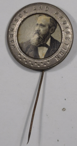 Political 1888 HARRISON & PROTECTION 15/16″ PHOTO STICKPIN – EXCELLENT CONDITION!