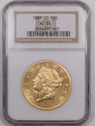 $20 1889-CC $20 LIBERTY HEAD GOLD – NGC AU-50, PQ! LOOKS AU-55!